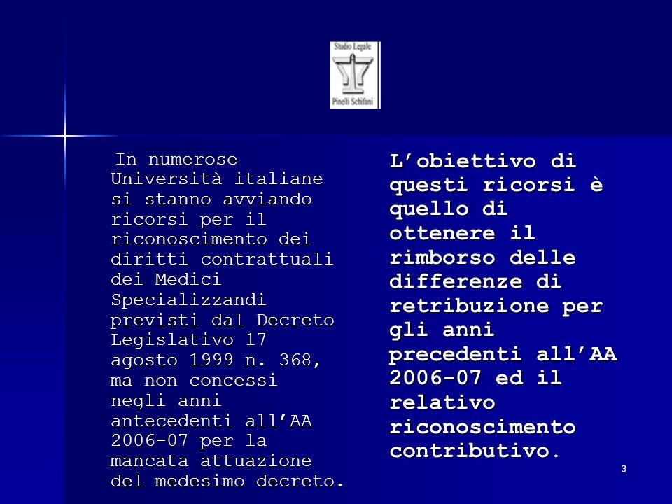 In numerose Università italiane si stanno avviando ricorsi per il riconoscimento dei diritti contrattuali dei Medici Specializzandi previsti dal Decreto Legislativo 17 agosto 1999 n. 368, ma non concessi negli anni antecedenti all'AA 2006-07 per la mancata attuazione del medesimo decreto.