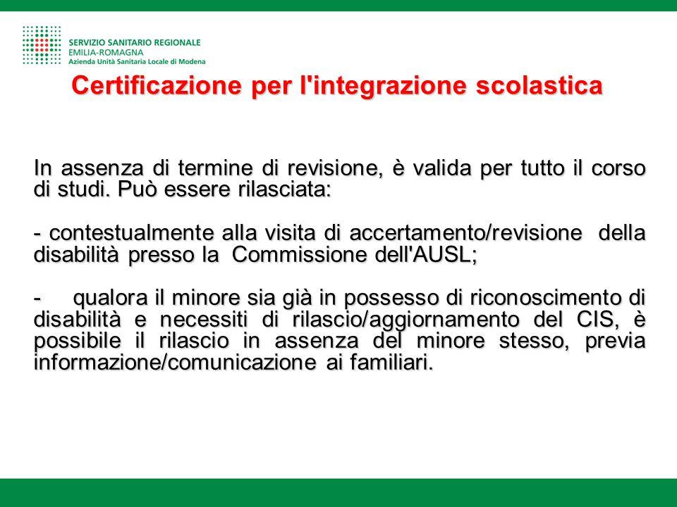 Certificazione per l integrazione scolastica