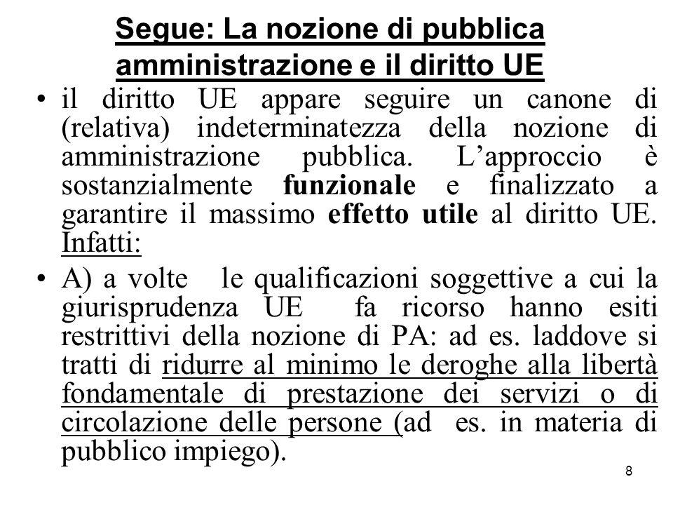 Segue: La nozione di pubblica amministrazione e il diritto UE