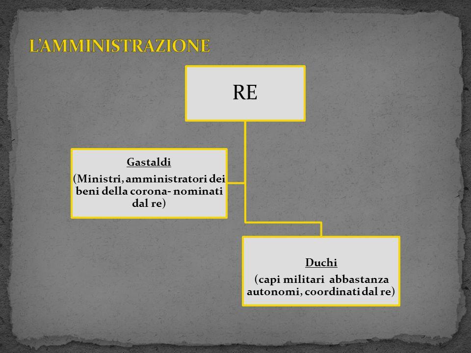 L'AMMINISTRAZIONE RE. (Ministri, amministratori dei beni della corona- nominati dal re) Gastaldi.