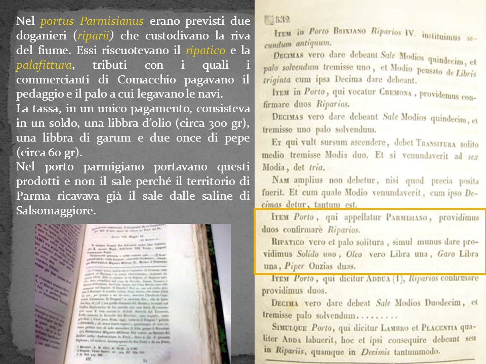Nel portus Parmisianus erano previsti due doganieri (riparii) che custodivano la riva del fiume. Essi riscuotevano il ripatico e la palafittura, tributi con i quali i commercianti di Comacchio pagavano il pedaggio e il palo a cui legavano le navi.