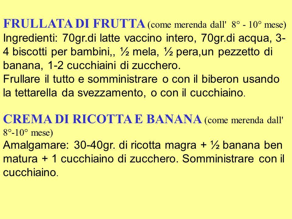 FRULLATA DI FRUTTA (come merenda dall 8° - 10° mese)