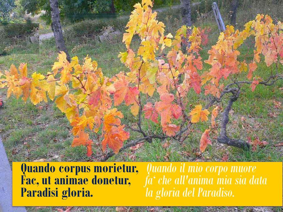 Quando corpus morietur, Quando il mio corpo muore Fac, ut animae donetur, fa' che all anima mia sia data Paradisi gloria.
