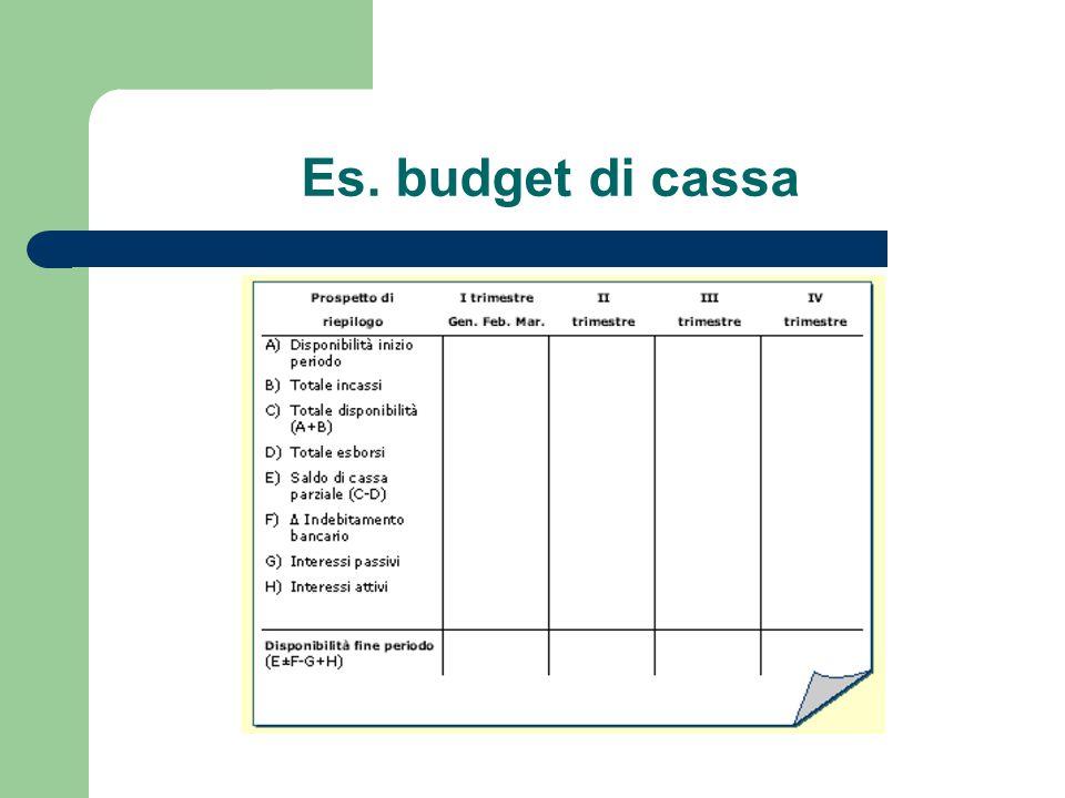 Es. budget di cassa