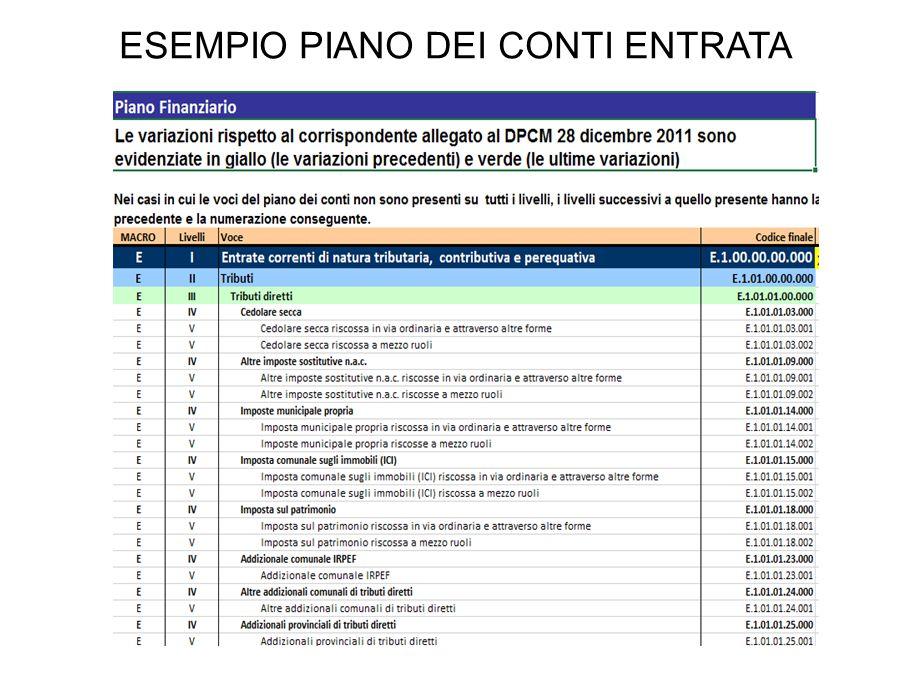 ESEMPIO PIANO DEI CONTI ENTRATA