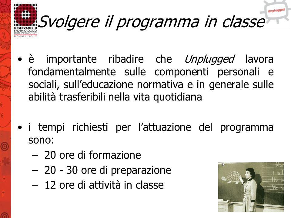 Svolgere il programma in classe