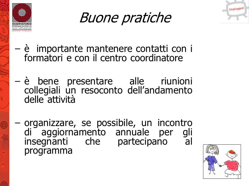 Buone pratiche è importante mantenere contatti con i formatori e con il centro coordinatore.