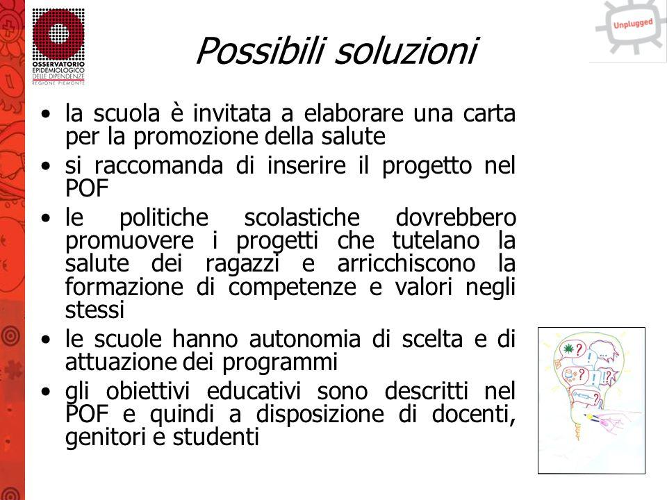 Possibili soluzioni la scuola è invitata a elaborare una carta per la promozione della salute. si raccomanda di inserire il progetto nel POF.