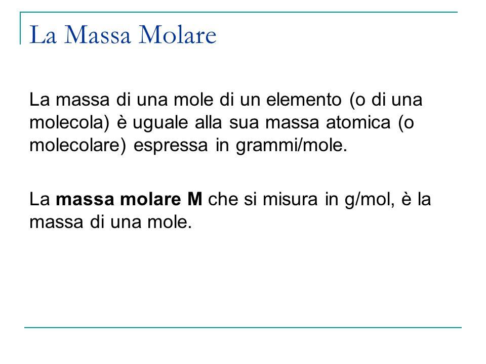 La Massa Molare La massa di una mole di un elemento (o di una molecola) è uguale alla sua massa atomica (o molecolare) espressa in grammi/mole.