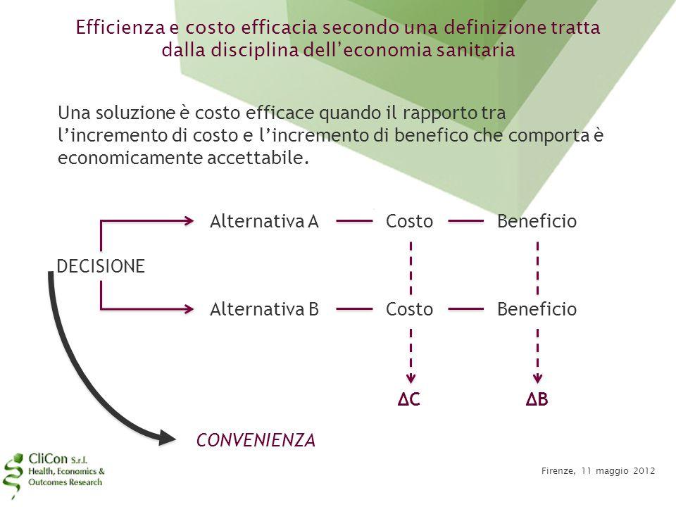 Efficienza e costo efficacia secondo una definizione tratta dalla disciplina dell'economia sanitaria