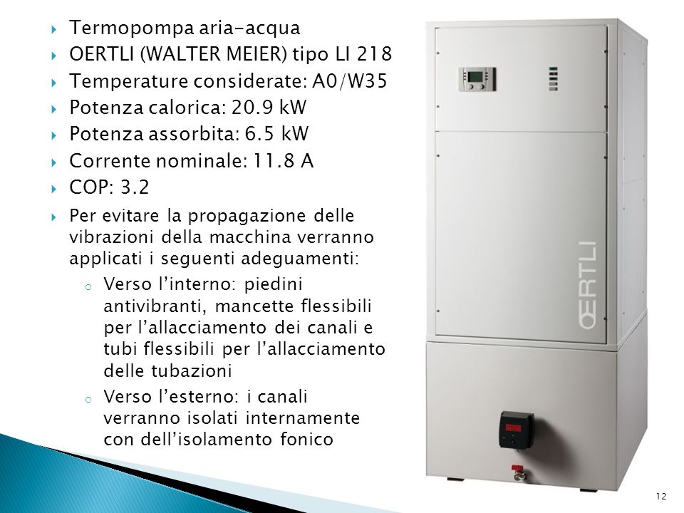 Termopompa aria-acqua OERTLI (WALTER MEIER) tipo LI 218