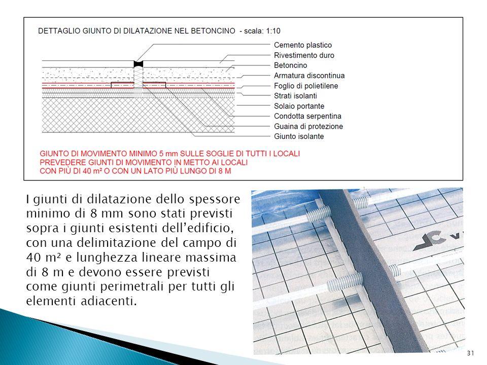 I giunti di dilatazione dello spessore minimo di 8 mm sono stati previsti sopra i giunti esistenti dell'edificio, con una delimitazione del campo di 40 m² e lunghezza lineare massima di 8 m e devono essere previsti come giunti perimetrali per tutti gli elementi adiacenti.