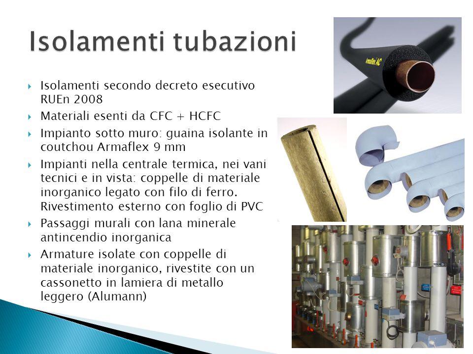 Isolamenti tubazioni Isolamenti secondo decreto esecutivo RUEn 2008