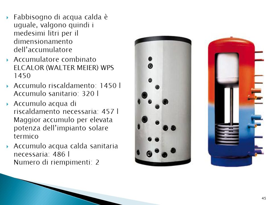 Fabbisogno di acqua calda è uguale, valgono quindi i medesimi litri per il dimensionamento dell'accumulatore