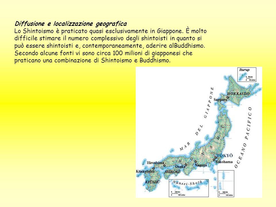 Diffusione e localizzazione geografica Lo Shintoismo è praticato quasi esclusivamente in Giappone.