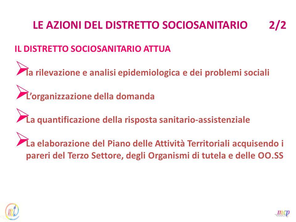 LE AZIONI DEL DISTRETTO SOCIOSANITARIO 2/2