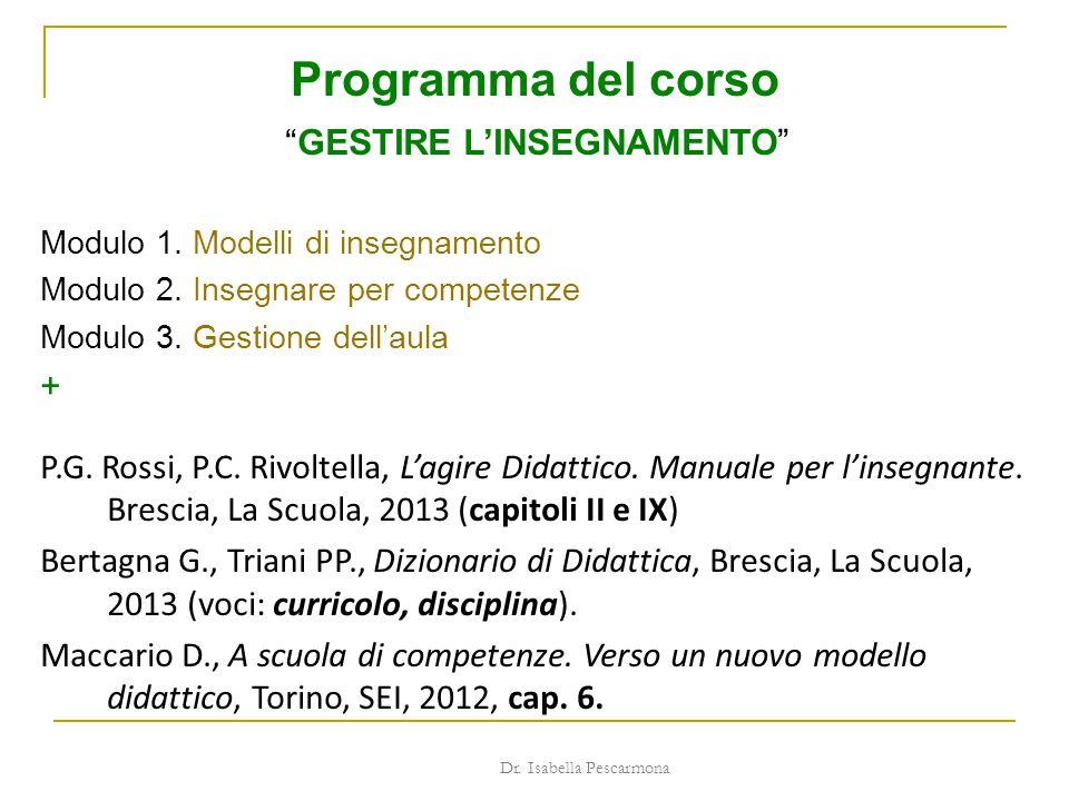 Programma del corso GESTIRE L'INSEGNAMENTO +