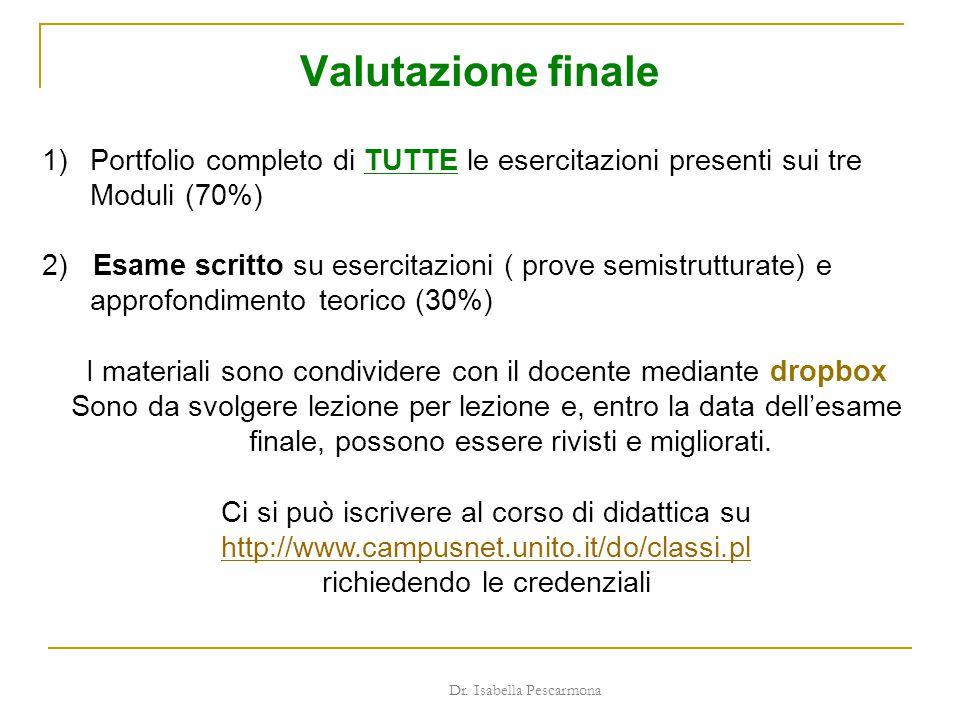 Valutazione finale Portfolio completo di TUTTE le esercitazioni presenti sui tre Moduli (70%)