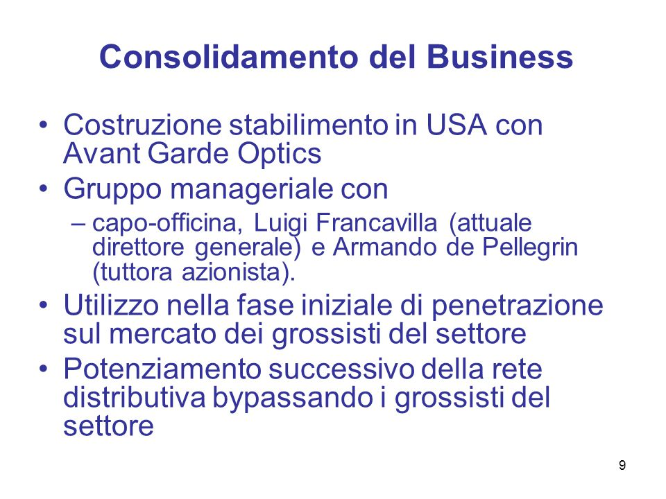 Consolidamento del Business