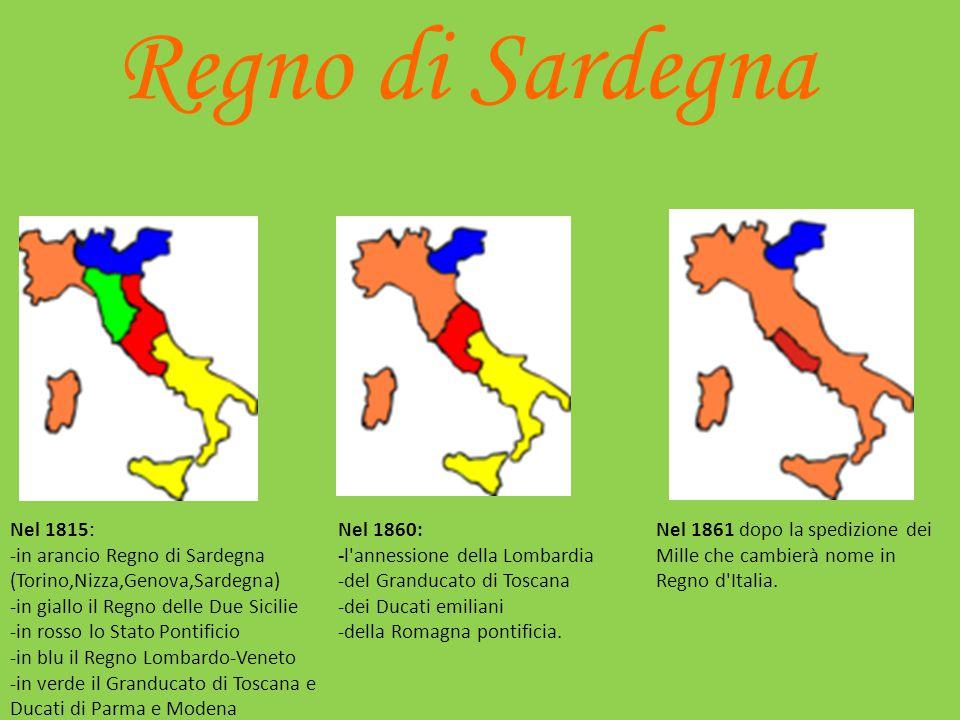 Regno di Sardegna Nel 1815: -in arancio Regno di Sardegna (Torino,Nizza,Genova,Sardegna) -in giallo il Regno delle Due Sicilie.