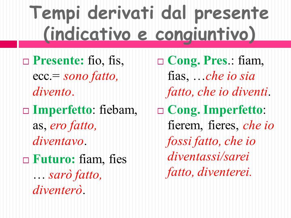 Tempi derivati dal presente (indicativo e congiuntivo)