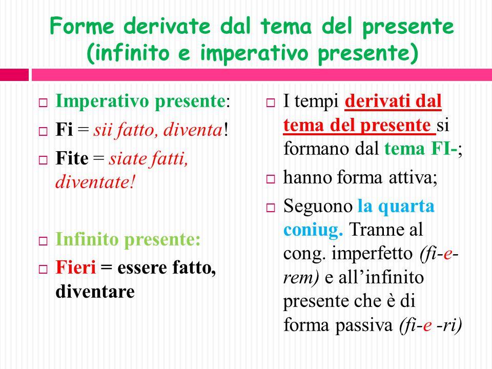 Forme derivate dal tema del presente (infinito e imperativo presente)