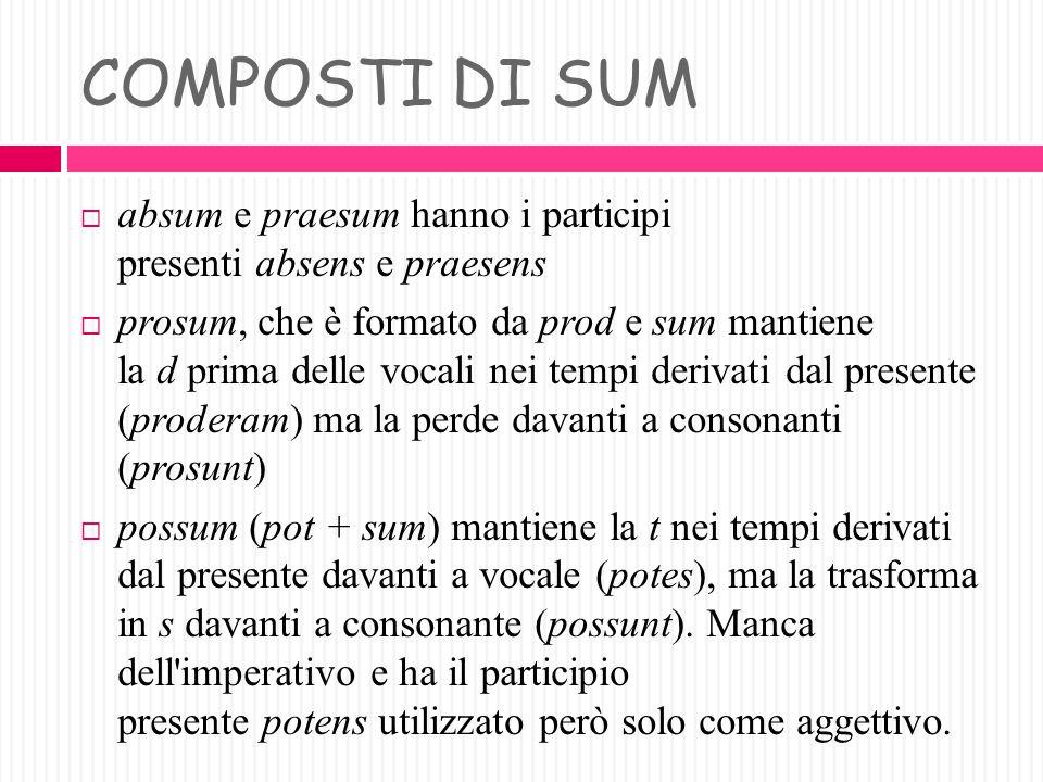 COMPOSTI DI SUM absum e praesum hanno i participi presenti absens e praesens.