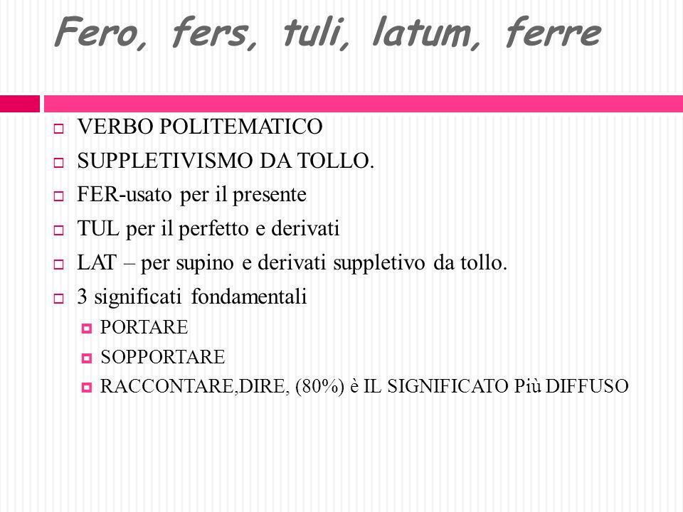 Fero, fers, tuli, latum, ferre
