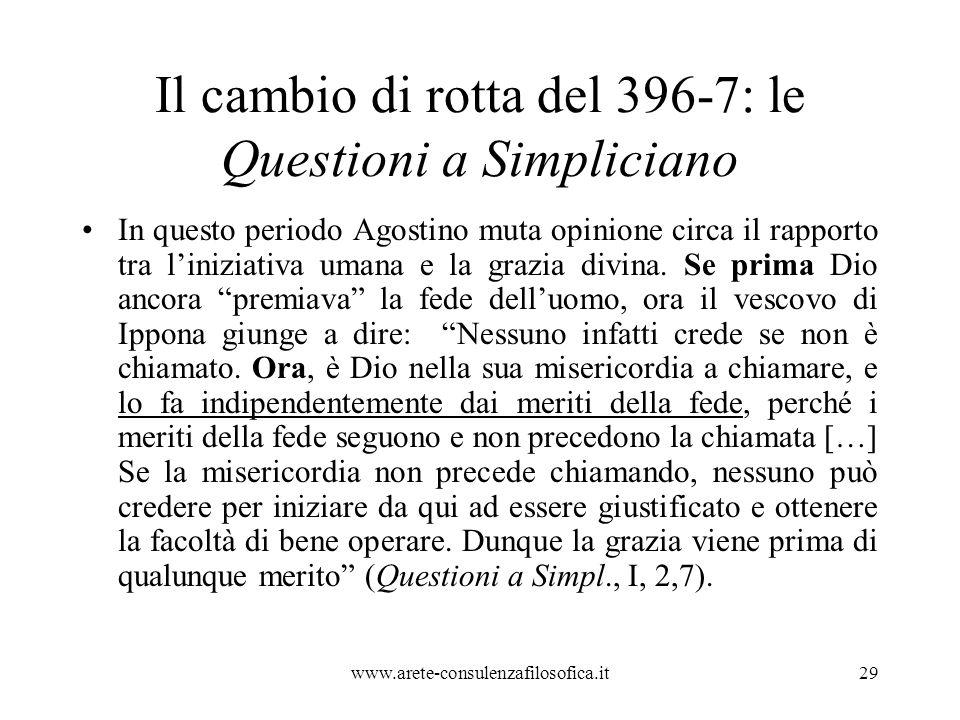 Il cambio di rotta del 396-7: le Questioni a Simpliciano