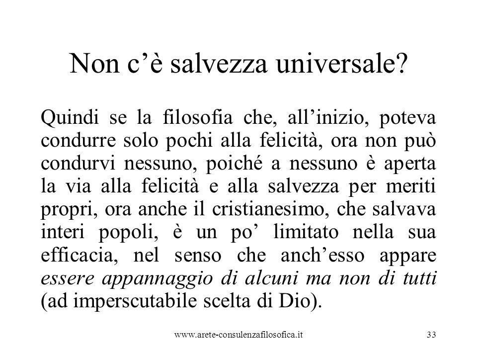 Non c'è salvezza universale