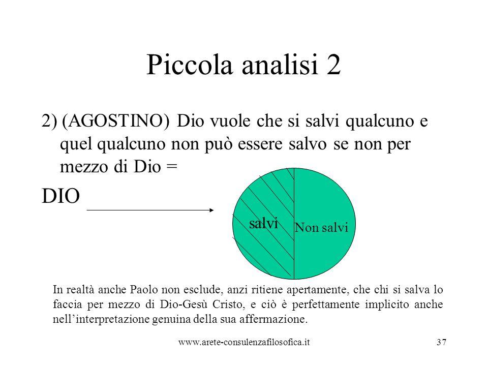Piccola analisi 2 2) (AGOSTINO) Dio vuole che si salvi qualcuno e quel qualcuno non può essere salvo se non per mezzo di Dio =