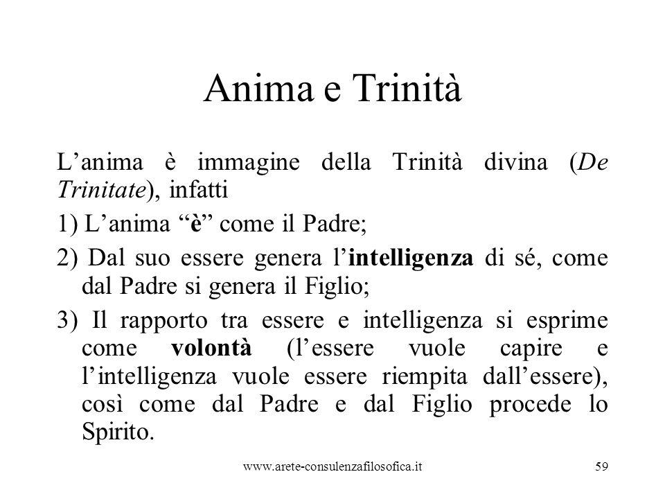 Anima e Trinità L'anima è immagine della Trinità divina (De Trinitate), infatti. 1) L'anima è come il Padre;