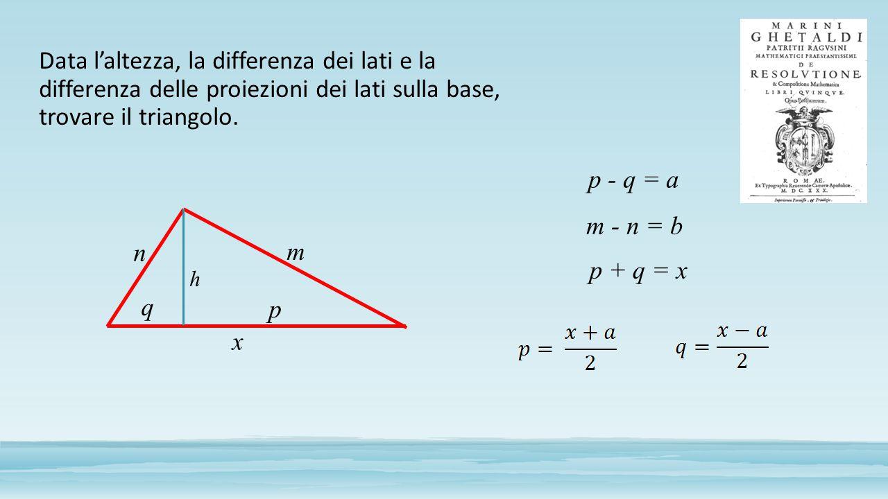 Data l'altezza, la differenza dei lati e la differenza delle proiezioni dei lati sulla base, trovare il triangolo.