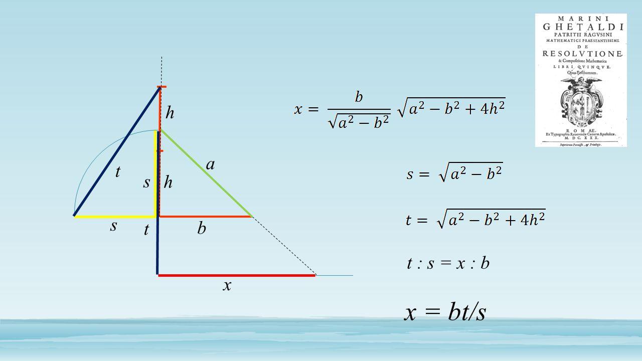 h a t s h s t b t : s = x : b x x = bt/s