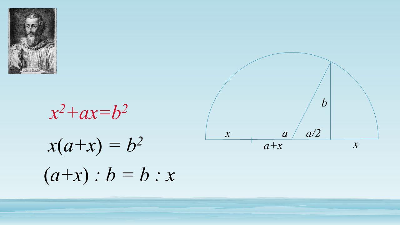 b x2+ax=b2 x a a/2 x(a+x) = b2 a+x x (a+x) : b = b : x