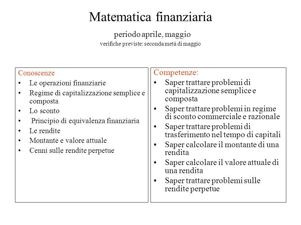 Matematica finanziaria periodo aprile, maggio verifiche previste: seconda metà di maggio