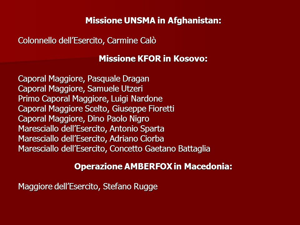 Missione UNSMA in Afghanistan: Colonnello dell'Esercito, Carmine Calò