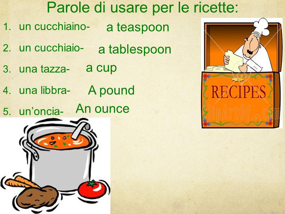 Parole di usare per le ricette:
