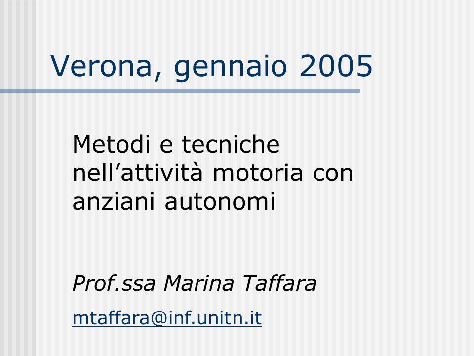 Verona, gennaio 2005 Metodi e tecniche nell'attività motoria con anziani autonomi. Prof.ssa Marina Taffara.