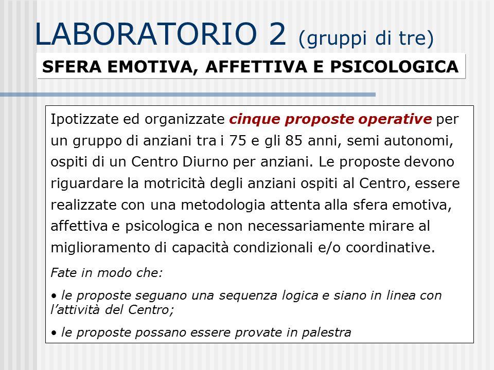 LABORATORIO 2 (gruppi di tre)