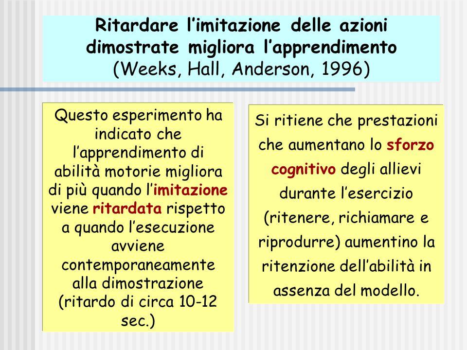 Ritardare l'imitazione delle azioni dimostrate migliora l'apprendimento (Weeks, Hall, Anderson, 1996)