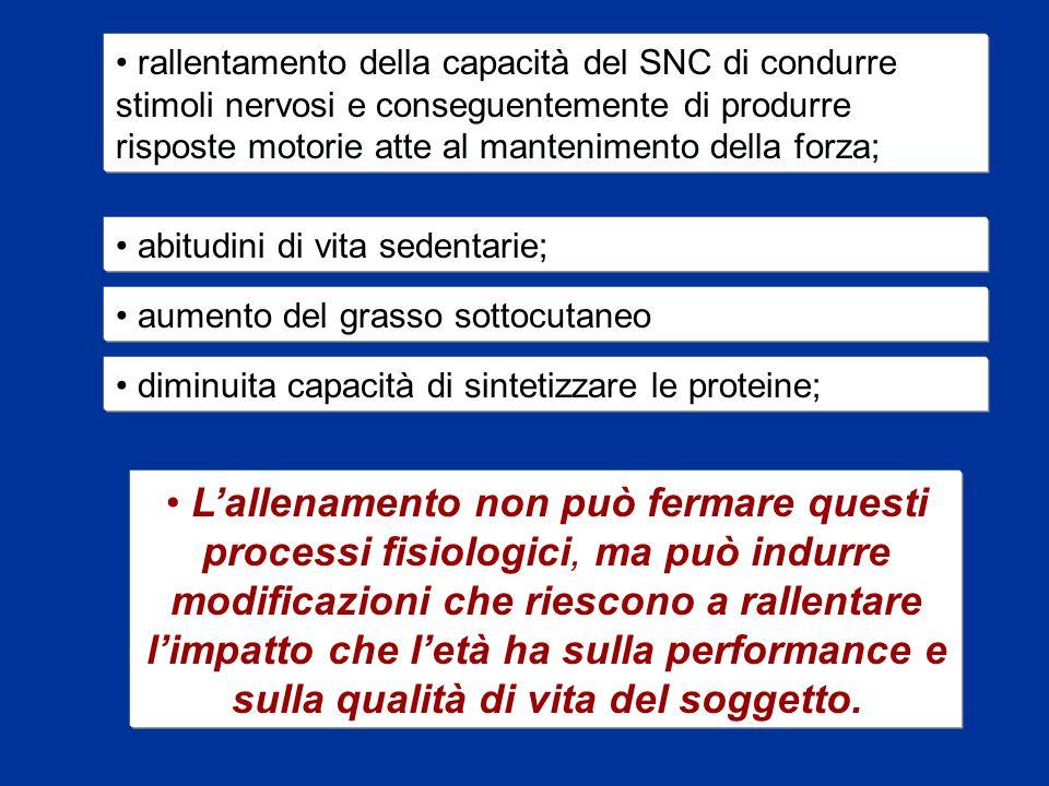 rallentamento della capacità del SNC di condurre stimoli nervosi e conseguentemente di produrre risposte motorie atte al mantenimento della forza;