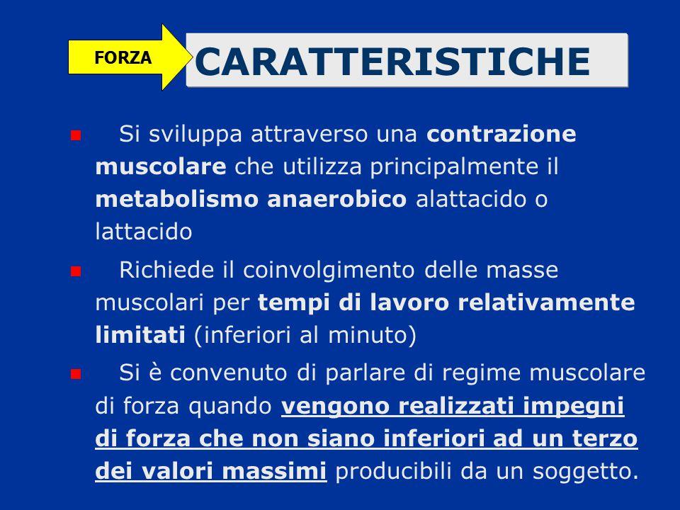 FORZA CARATTERISTICHE. Si sviluppa attraverso una contrazione muscolare che utilizza principalmente il metabolismo anaerobico alattacido o lattacido.