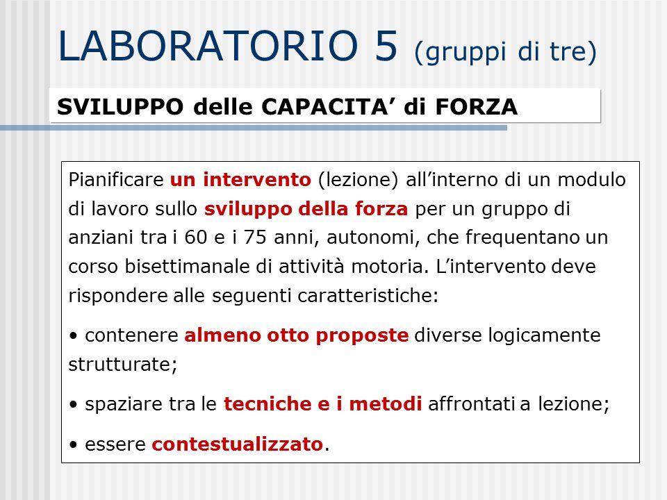 LABORATORIO 5 (gruppi di tre)