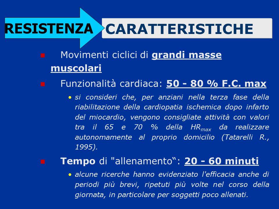RESISTENZA CARATTERISTICHE Movimenti ciclici di grandi masse muscolari