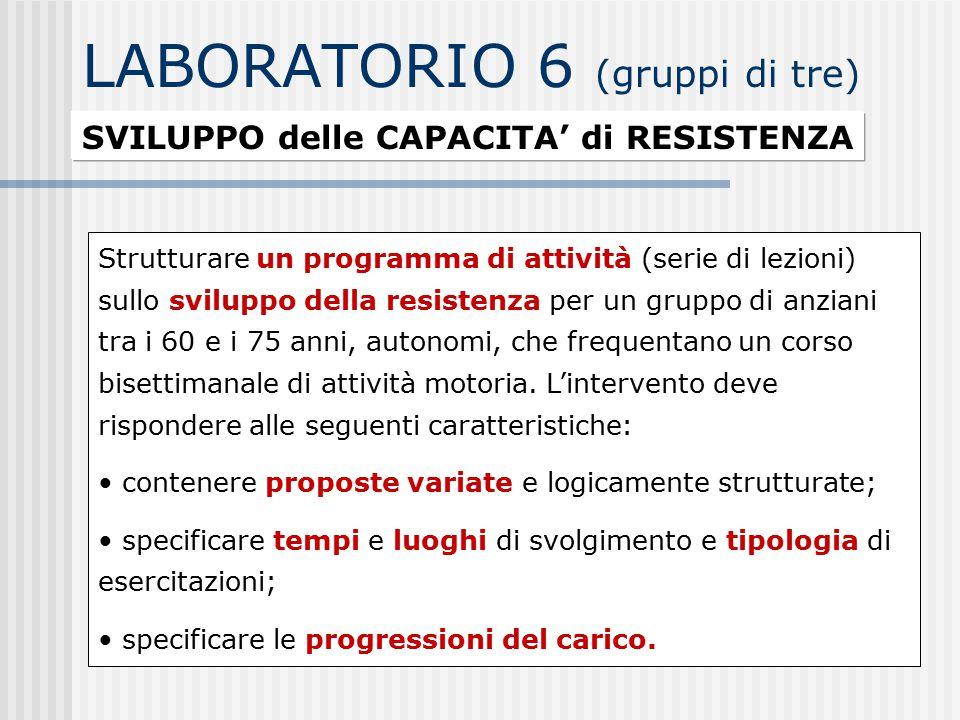 LABORATORIO 6 (gruppi di tre)