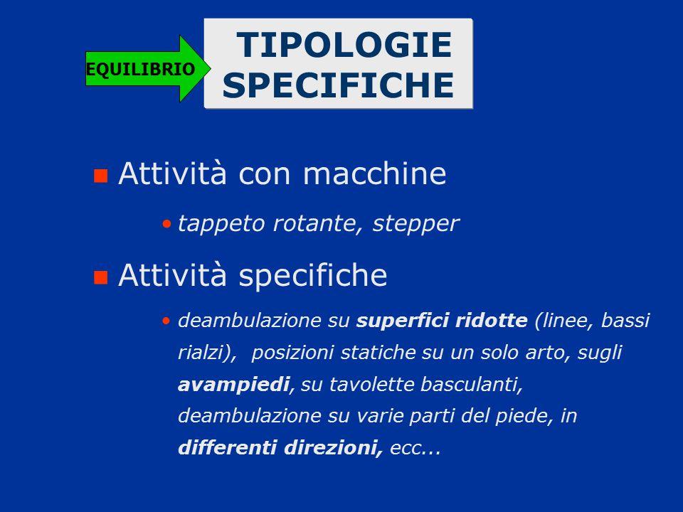 TIPOLOGIE SPECIFICHE Attività con macchine Attività specifiche