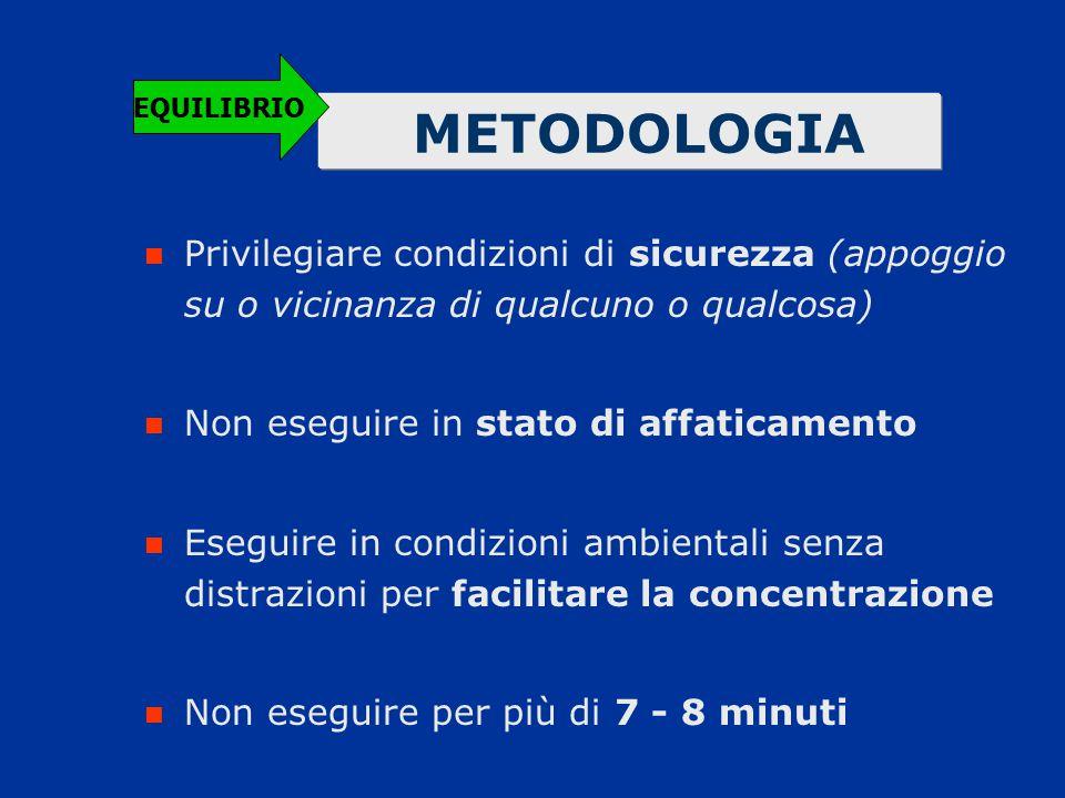 EQUILIBRIO METODOLOGIA. Privilegiare condizioni di sicurezza (appoggio su o vicinanza di qualcuno o qualcosa)