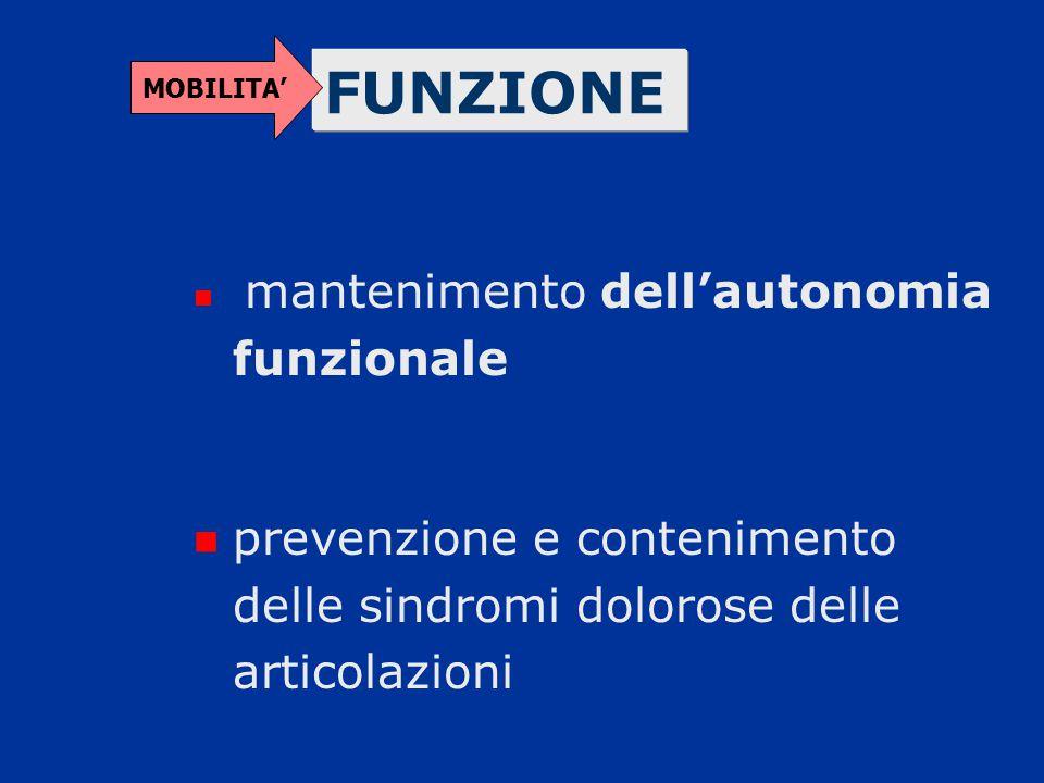 MOBILITA' FUNZIONE. mantenimento dell'autonomia funzionale.