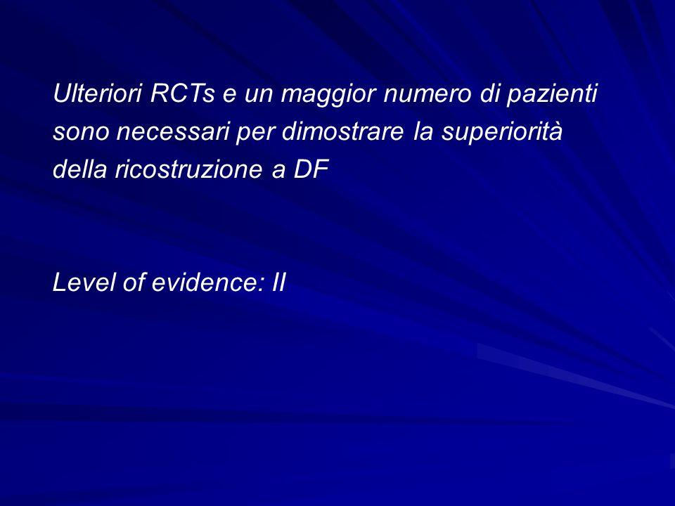 Ulteriori RCTs e un maggior numero di pazienti sono necessari per dimostrare la superiorità della ricostruzione a DF
